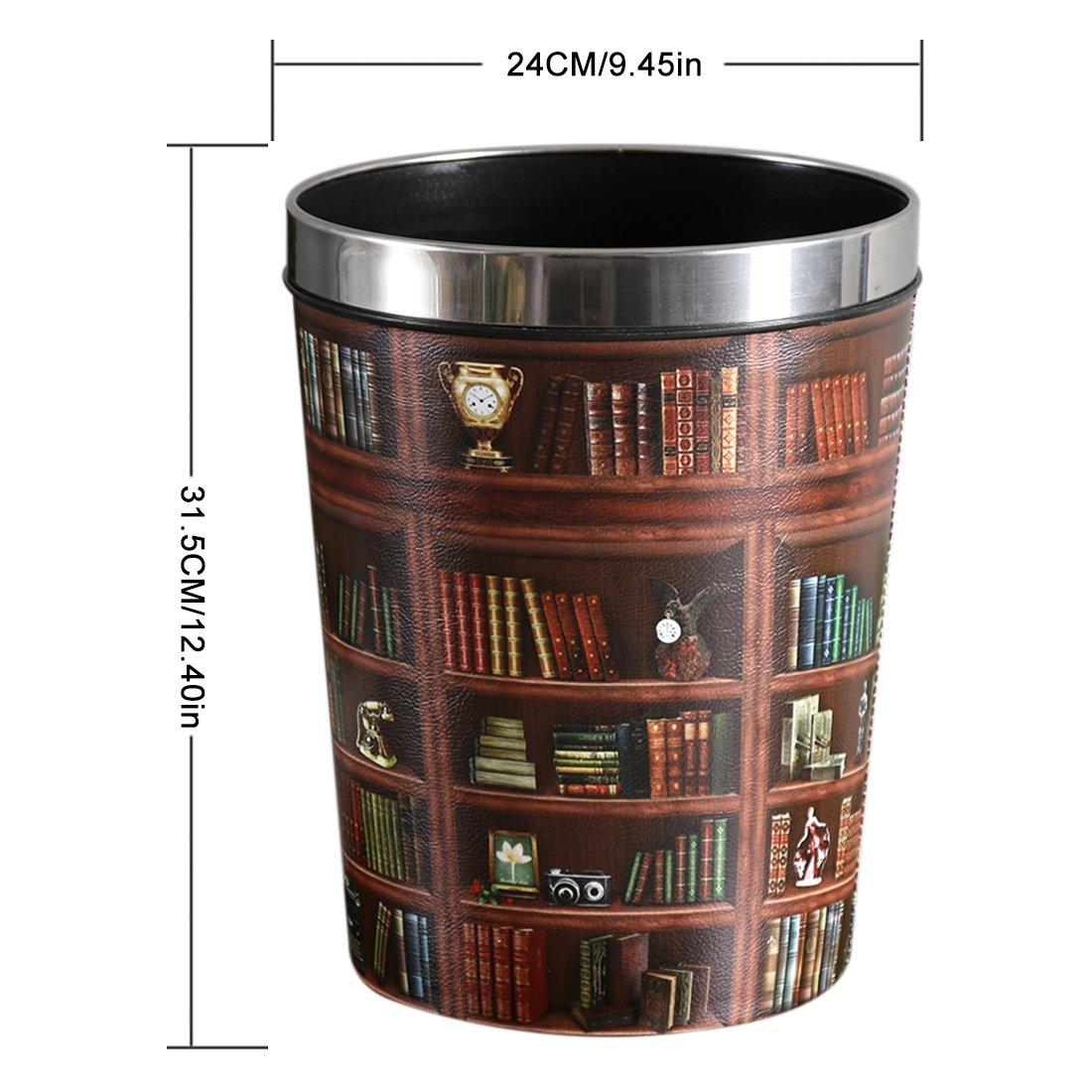 Giplar - Papelera clásico de piel sintética, 12 L, diseño clásico Papelera 24x24x31,5cm Bookcase Pattern 9f2faf