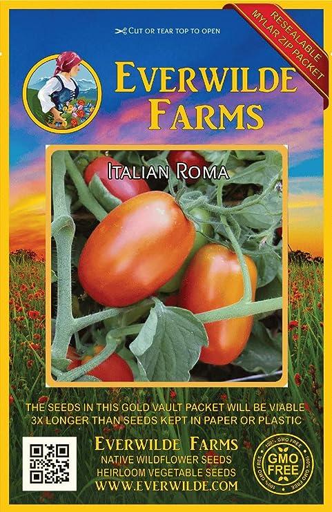 50 Italian Roma Heirloom Tomato Seeds Everwilde Farms Mylar Seed Packet