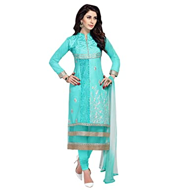 Amazon Com Biyu Women S Sky Blue Cotton Embroidered Unstitched