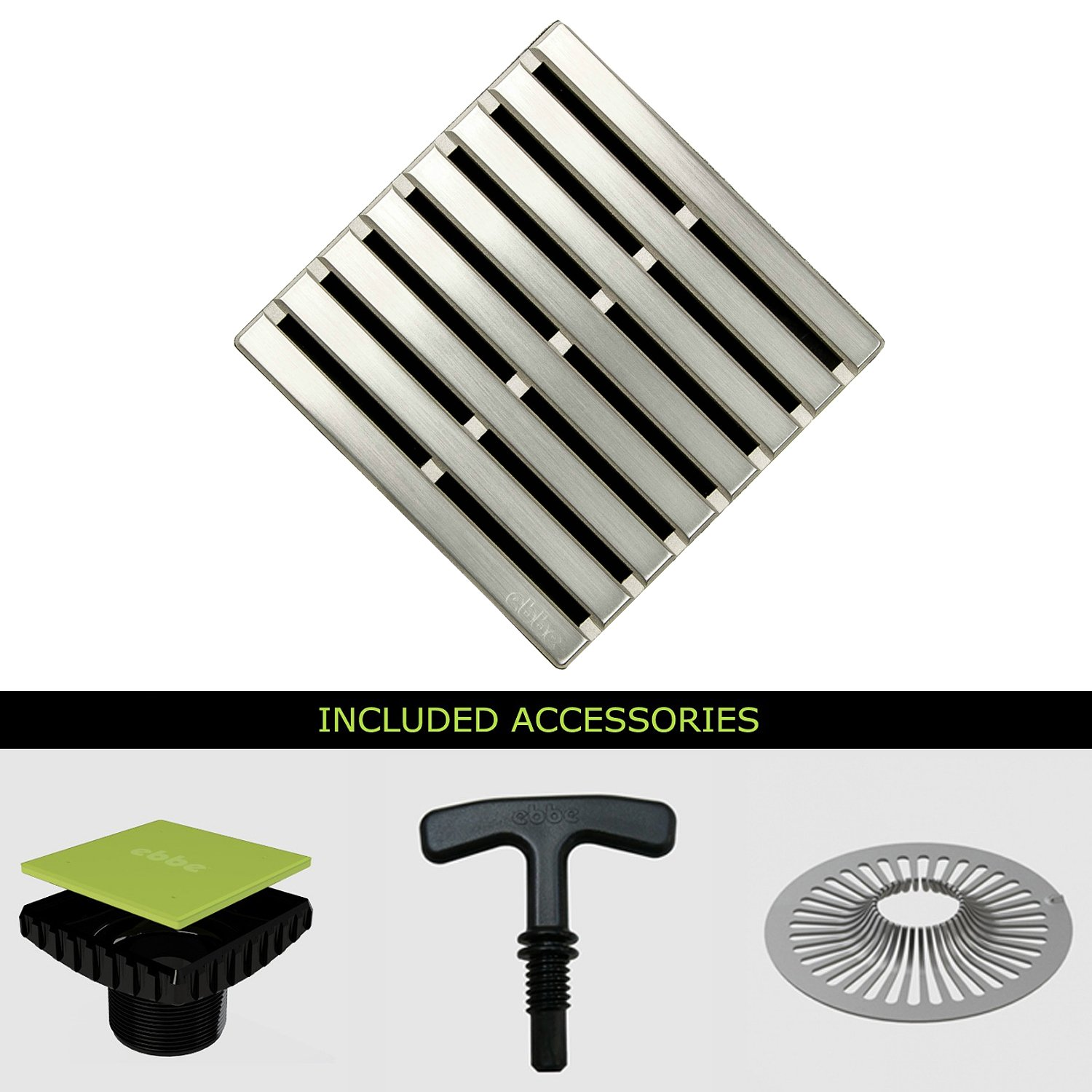 Ebbe E4811-BS-E4400 Unique Grate in Brushed Stainless & Drain Riser w/ T-Puller & Hair Trap