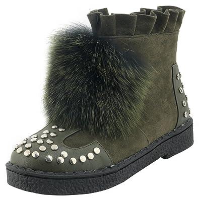 AIYOUMEI Damen Flach Stiefeletten mit Nieten und Kunstfell Plateau Ankle Boots Winter Kurzschaft Stiefel X1UbdFPsv