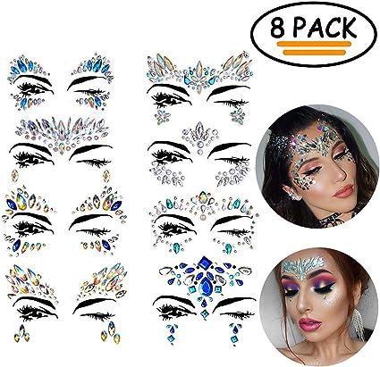 Pegatinas cara, 8 piezas Vibury Cara Gemas Cristales Arco Iris ...