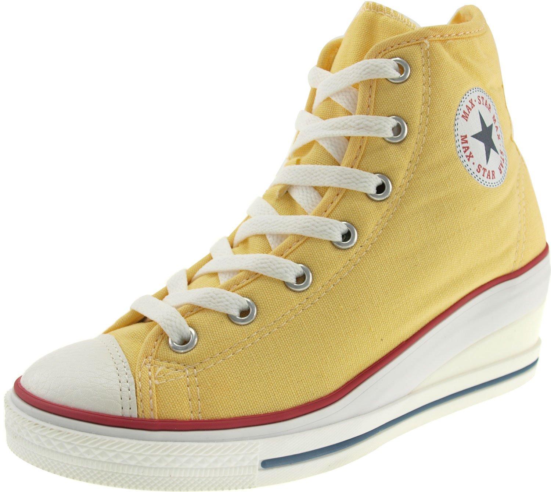 Maxstar Women's 7H Zipper Low Wedge Heel Sneakers B00COWN7UM 7.5 B(M) US|Yellow