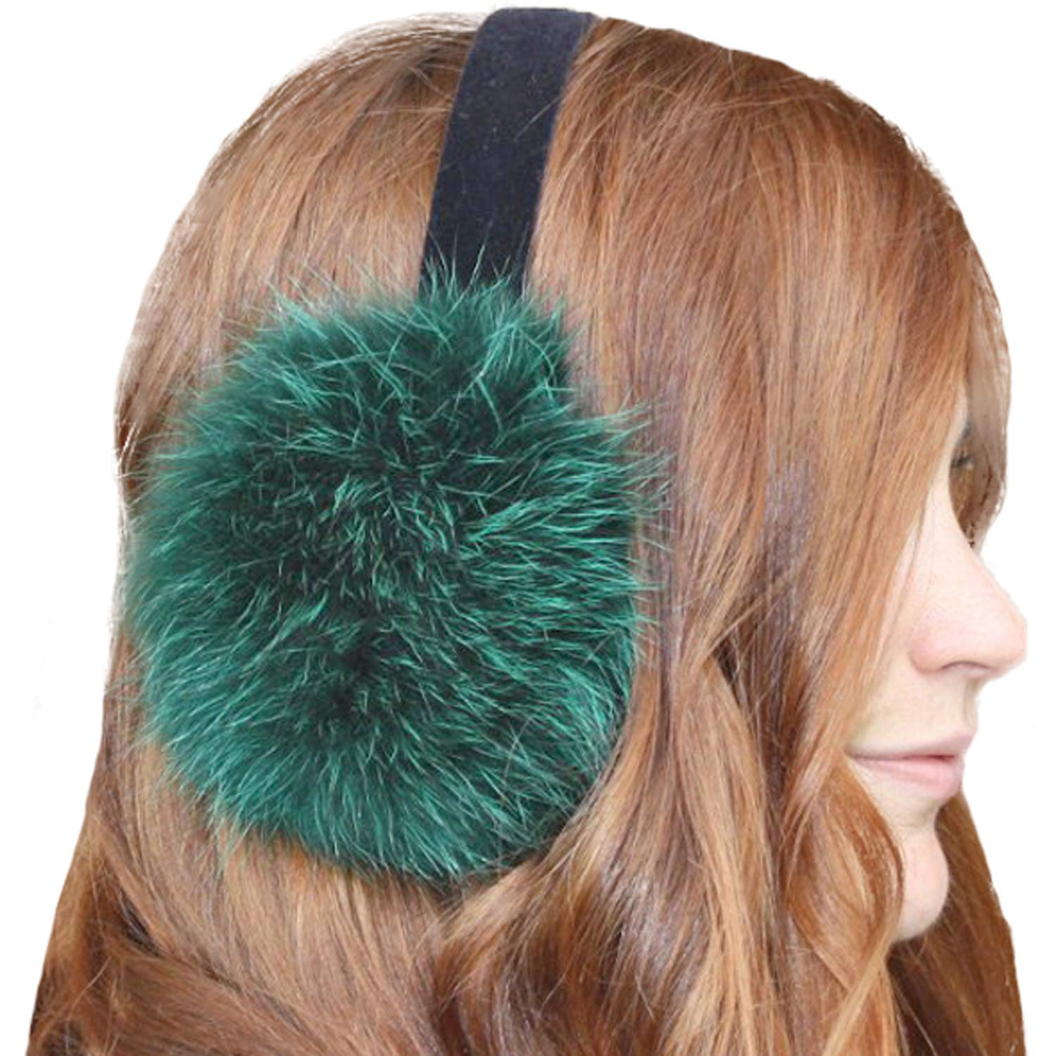 Glacier Wear Emeraldl Dyed Raccoon Real Fur Ear Muffs (Emerald (mff1221))