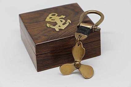 llavero helice caja madera nautica marinero capitan barco ...