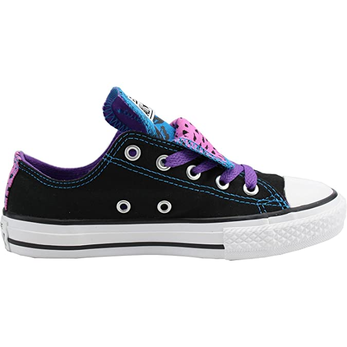 Converse Double Tongue Girls Youth Canvas Shoes 11 Black/Purple Animal:  Amazon.co.uk: Shoes & Bags