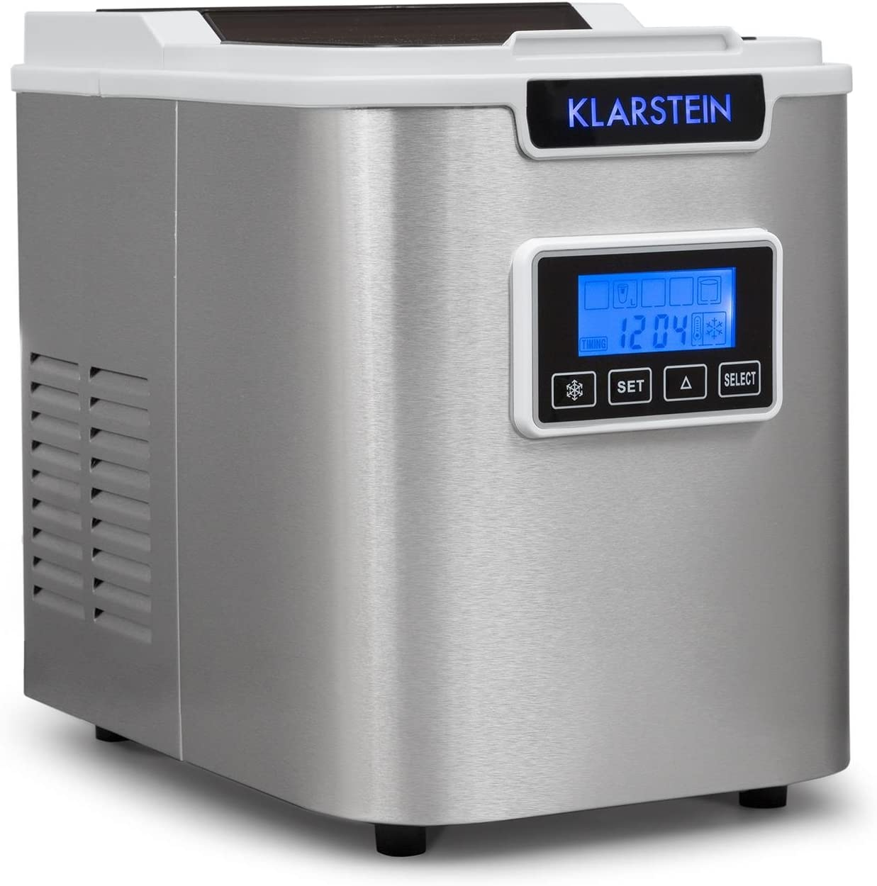 Klarstein Icemeister - Máquina de hacer hielo, Fabricadora de cubitos, 12 kg / 24 h, 150 W, 3 tamaños, Preparación en 10-15 min, Tanque de 1,1 L, Temporizador, Iluminación LED, Blanco
