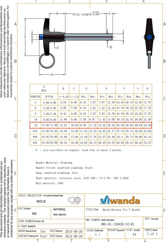 Diam/ètre M12 Goupille darr/êt en acier inoxydable avec poign/ée en aluminium en T autobloquante Longueur de serrage 40 mm Viwanda