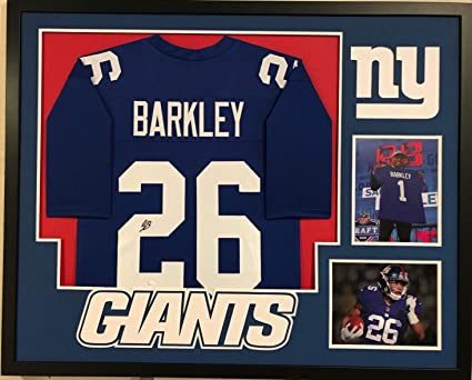 brand new 30e0b f8aa0 FRAMED SAQUON BARKLEY AUTOGRAPHED SIGNED NEW YORK GIANTS ...