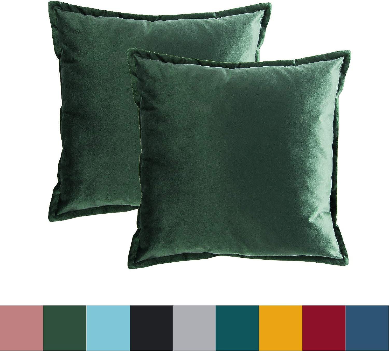 Bedsure Funda Cojin 45 x 45 Verde Oscuro - Juego de 2 Fundas Cojines Decorativas de Terciopelo, Muy Suave, Funda de Almohada Cuadrada para Sofá, Dormitorio y Sala de Estar, con Cremallera