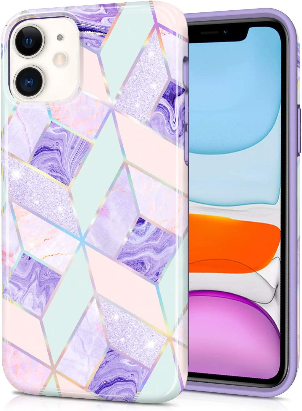 CAOUME iPhone 11 Case Purple Marble Design Sparkly Glitter Protective Stylish Geometric Slim Thin Cases for Apple Phone, Soft TPU Silicone Bumper Defender Camera Screen