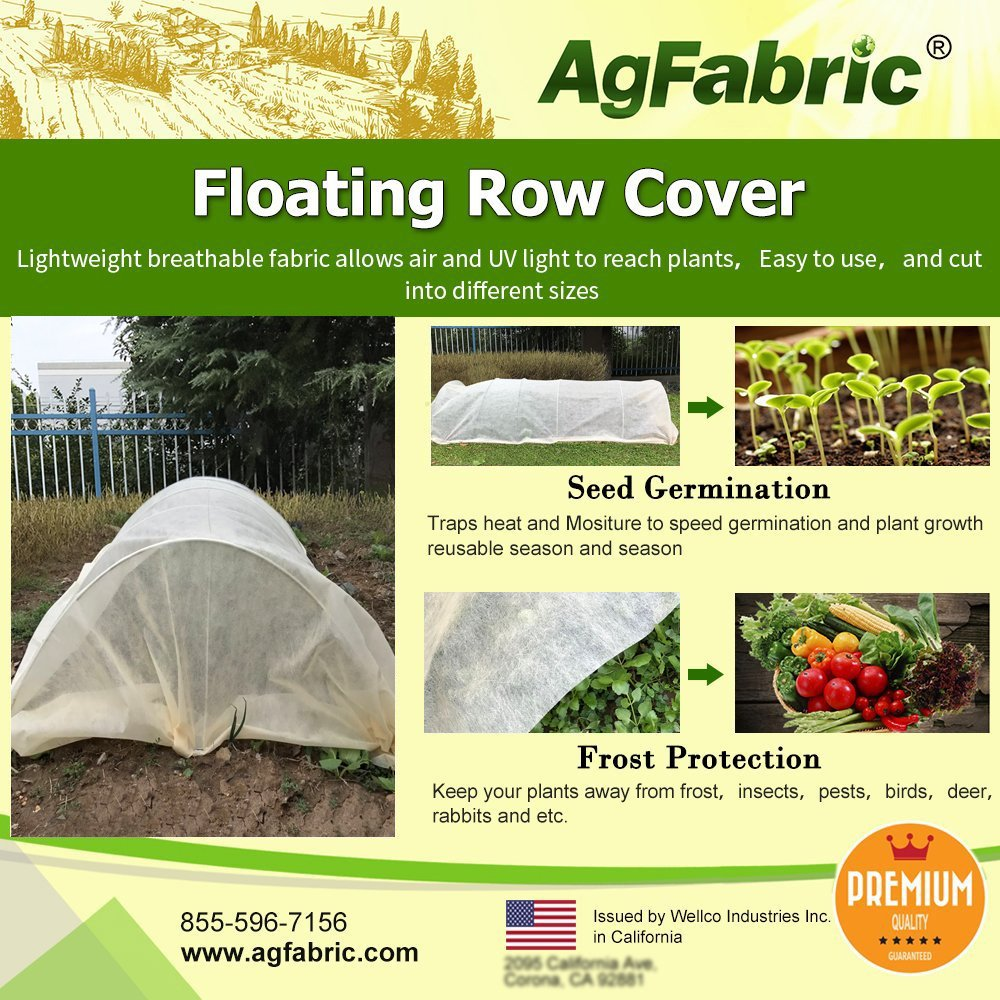 Agfabric Warm Worth Super-Heavy Floating Row Cover & Plant Blanket Roll Style, 1.5oz Fabric of 10x50ft for Frost Protection & Harsh Weather Resistance, Tan