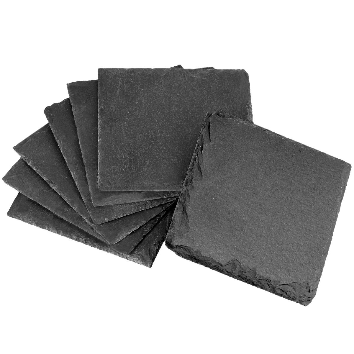 Beverages mookaitedecor 4 Inch Square Slate Coasters Set of 4 Wine Glasses Cup Mats Coasters for Drinks