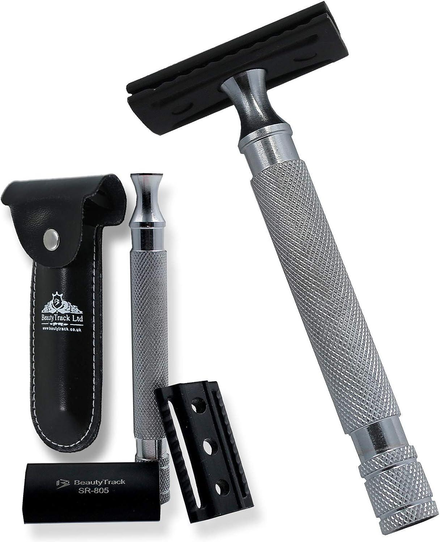 Maquinilla de afeitar negra de doble filo – Kit de afeitado de ...