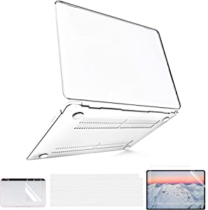 MacBook Air 13 inch Case 2020 2019 2018 Release A2179 A1932, Clear Plastic Laptop Hard Shell Case for Mac Air 13.3 Retina with Touch ID + 2 TPU Keyboard Covers + 1 Screen & 1 TouchPad Protector