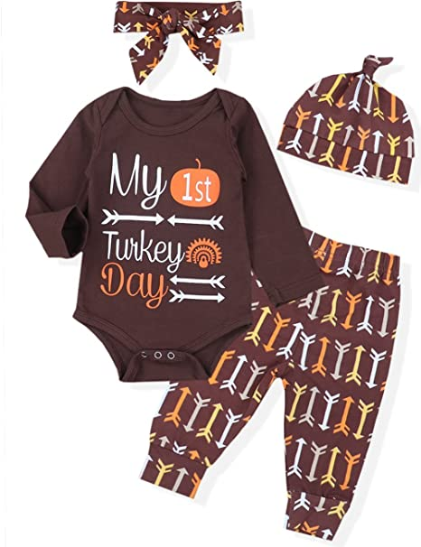4084f33da Amazon.com  Thanksgiving 4Pcs Newborn Baby Girl Boy Romper Arrow ...