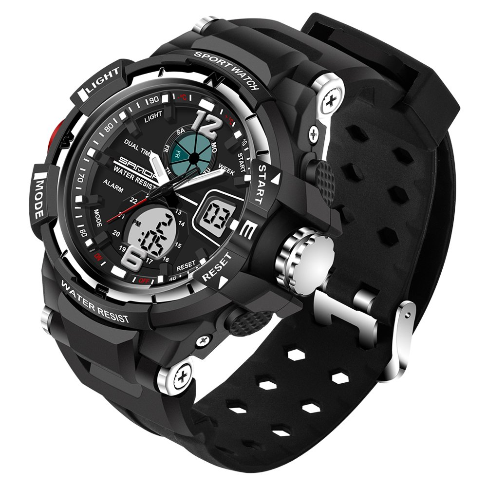 Kid LED Watch Child Boy Girl Sport Multi Function Analog-Digital Waterproof Electronic Quartz Watches-Silver