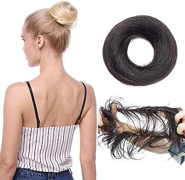 Chignon Chouchou Cheveux Naturel Extension En Vrai Cheveux Humains Postiche Hair Buns Scrunchie Updo Volumieux Lisse 1 Noir Fonce Amazon Fr Beauté Et Parfum