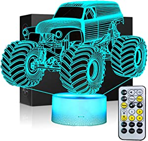 3D Lamps for Kids Bedroom Night lamp Kids Monster Truck Kids Night Lights Bedside 7 Colors Change Decors Lamp for Remote or Timing Function Best Birthday Gifts for Boys Girls Kids Baby
