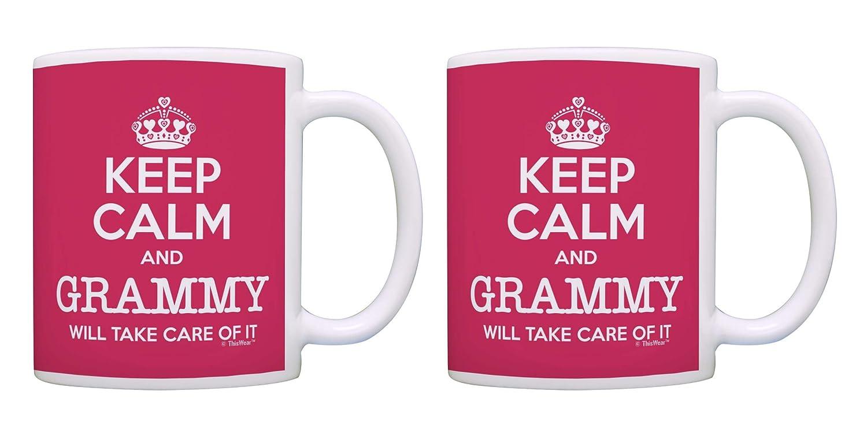 おばあちゃんの誕生日プレゼント「Keep Calm Will Take Care of It」ギフトコーヒーマグティーカップ ピンク 2 ピンク B07R95TM3M