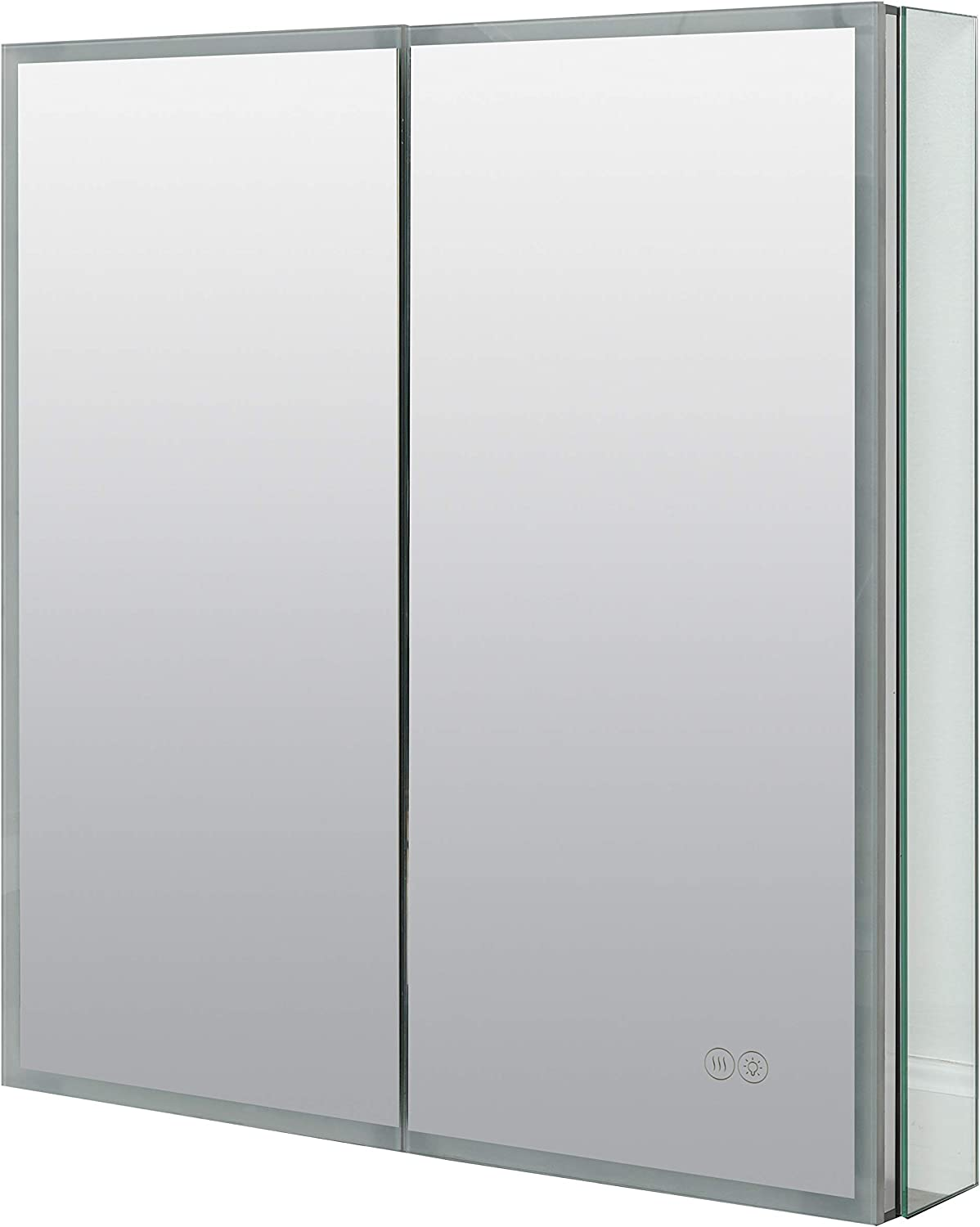 Zenna Home Framed LED Mirror Medicine Cabinet, Designer Series, 2 Doors, Edge-Lit with Anti-Fog Pad, Outlet and Touch Controls, Aluminum
