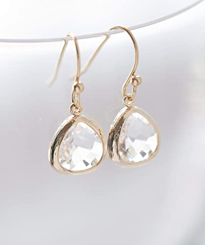 Amazon.com  Clear Crystal Glass Drop Earrings  Handmade f038e3bf25