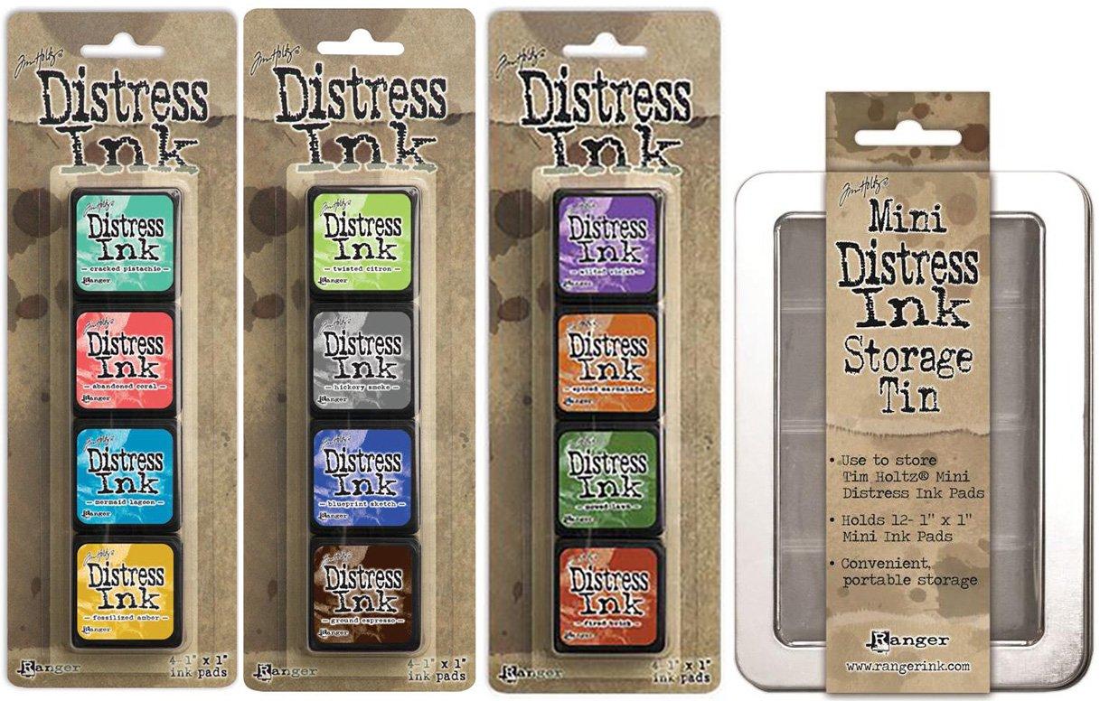 Ranger Tim Holtz Distress Mini Ink Pad Kits with Storage Tin - #13, #14, #15 - Bundle of 4 TDA42013 46738 46745 46752