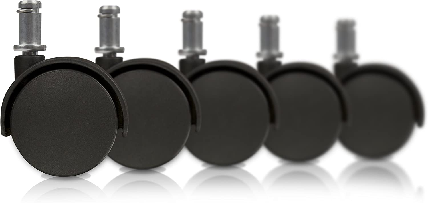 Slipstick CB682 2 Inch Replacement Office Chair Wheels (Set of 5 Casters) Universal Standard Size Stem 7/16 Inch x 7/8 Inch - Black Plastic