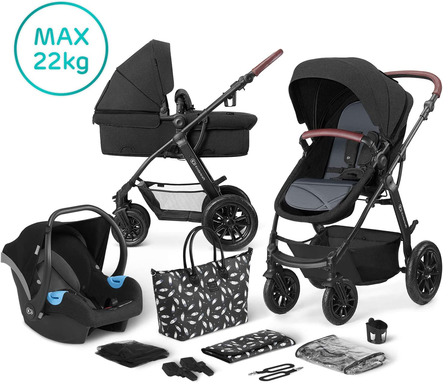 Carrycot Buggy Rain Cover Kinderkraft Pram 3 in 1 Set XMOOV with Infant Car Seat Black Accessories Travel System Footmuff for Newborn 0-13 Kg Foldable Baby Pushchair from Birth to 3 Years