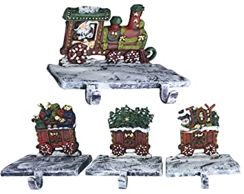 lulu decor 2d train christmas stocking holder with 3 rail carts made of cast