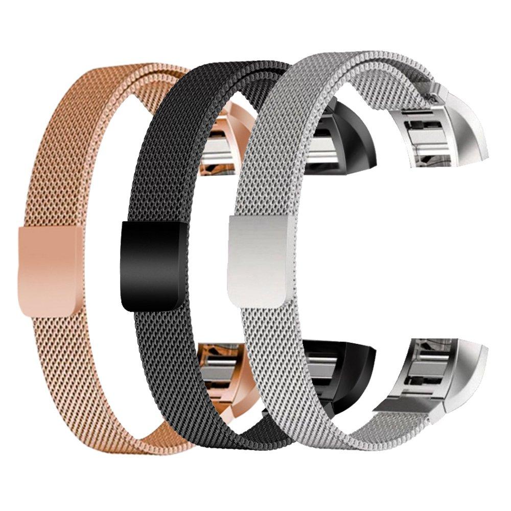 [ 3色パック]交換Milaneseバンドfor Fitbit ALTA / Fitbit ALTA HR、tdrtech Milanese Loopステンレススチールストラップアクセサリーwith Magnetic Clasp for Fitbit ALTAアルタ/ HR、ローズゴールド、ブラック、シルバー B071D554SP