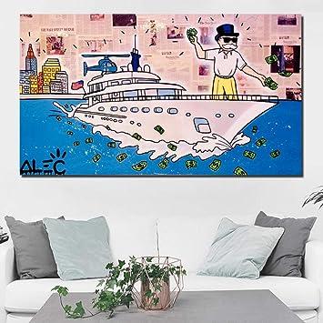 Alec Monopoly Wolf of Wall Street Pintura en Lienzo Impresiones Sala de Estar Decoración del hogar Arte Moderno de la Pared Pintura al óleo Poster Picture-50x75cm sin Marco: Amazon.es: Hogar