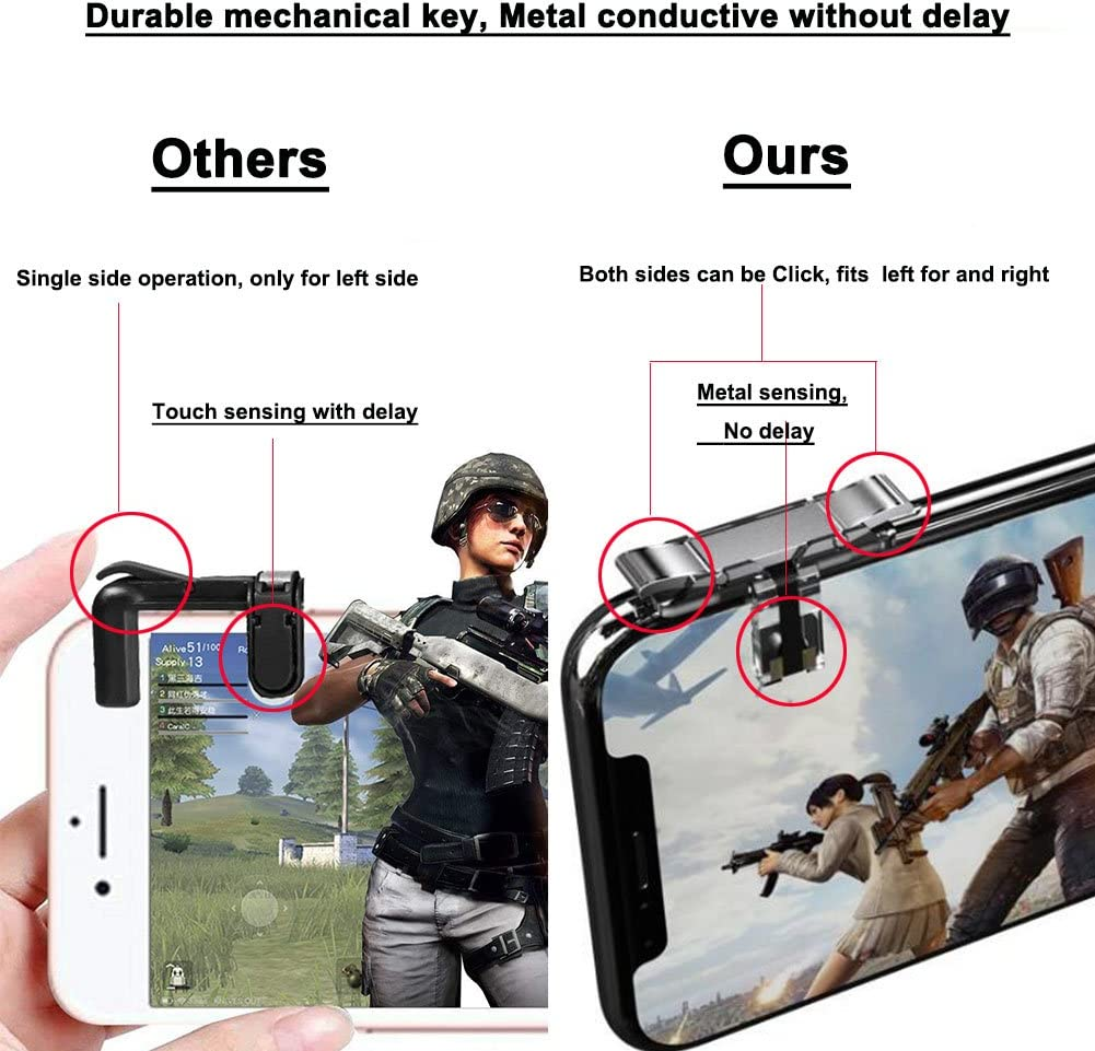 Sensitive Shoot and Aim Buttons Shooter Handgrip with an Adjustable Tighten Clasp- 1Pair Mobile Game Controller L1R1 Norhu Cell Phone Game Triggers