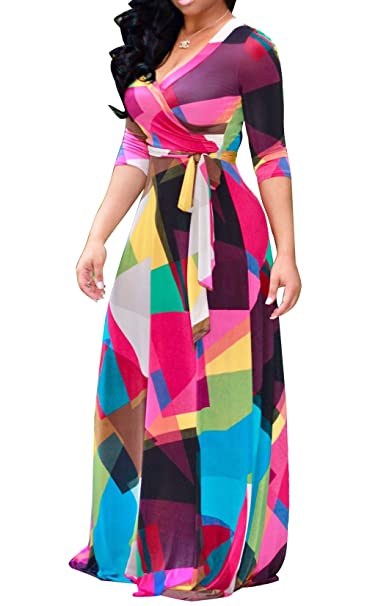 PiePieBuy Women Plus Size Dashiki Traditional Graffiti Printed V Neck Sash  African Maxi Dress Ball Gown