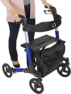 Vive Rollator Walker - Folding 4 Wheel Medical Rolling Walker with Seat & Bag - Mobility Aid for Adult, Senior, Elderly & Handicap - Aluminum Transport Chair (Blue)