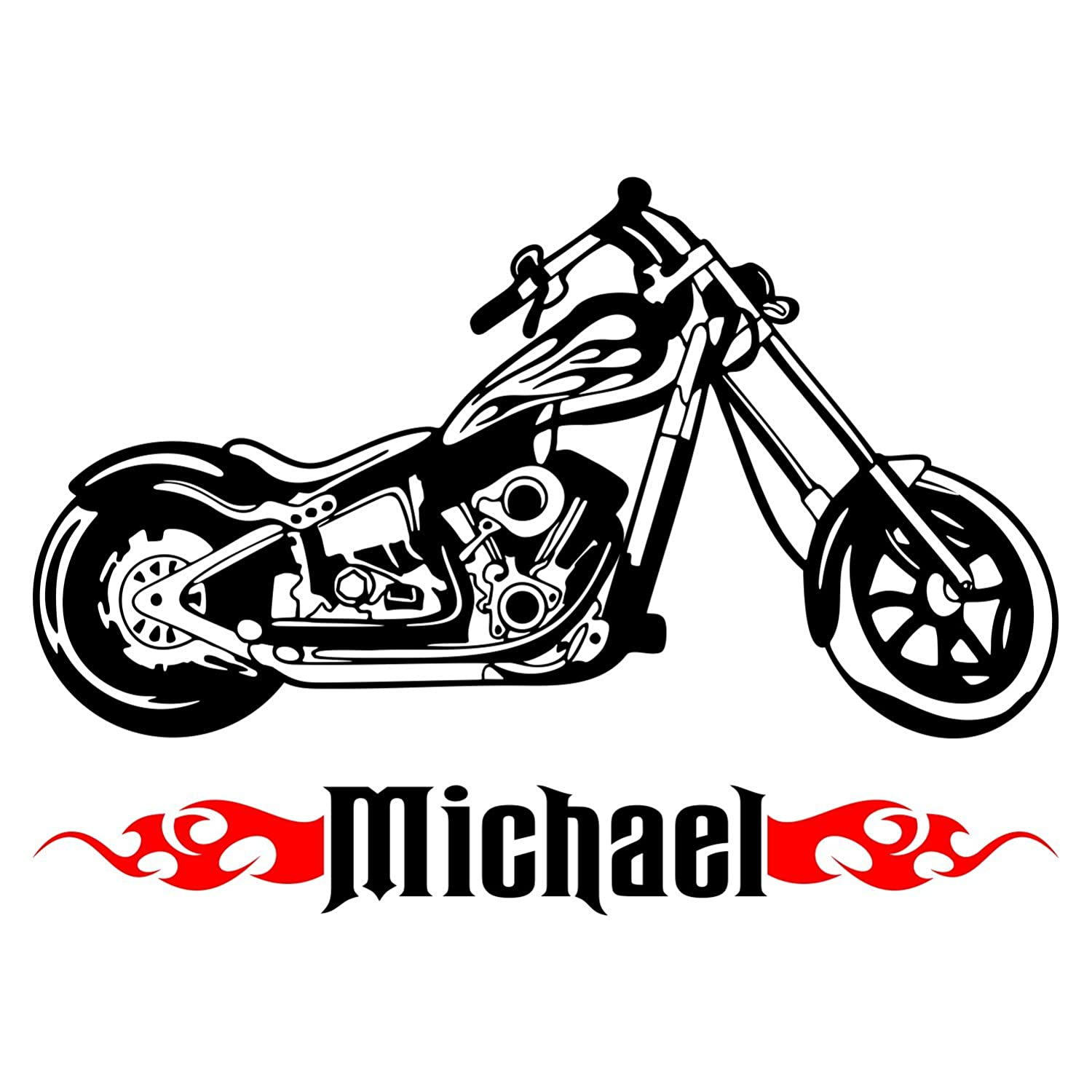 Amazon com motorcycle chopper bike wall fire custom boy name vinyl wall decal sticker decor x large 36 x 26 inches home kitchen