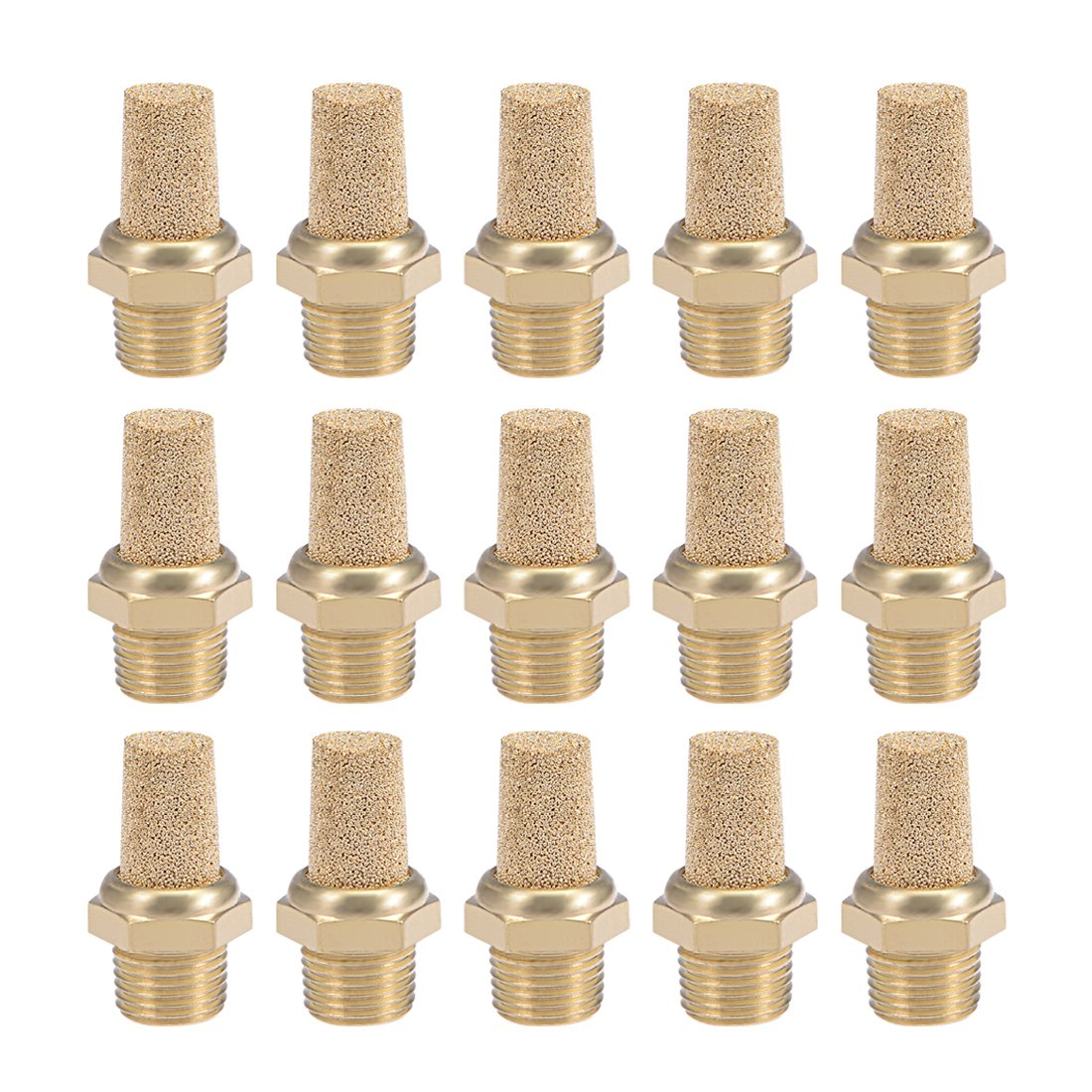uxcell 1/8 PT Sintered Bronze Exhaust Muffler with Brass Body Protruding 15pcs