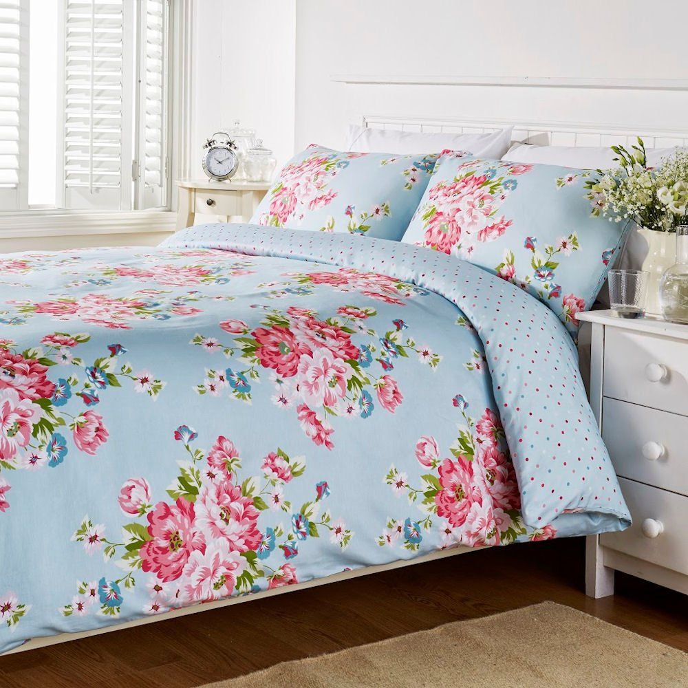 Hummingbird Bed Linen Part - 20: Humming Bird Connie Floral Blue Cotton King Size Duvet Quilt Cover Bedding  Set: Amazon.co.uk: Kitchen U0026 Home