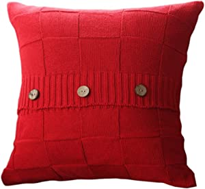 "Goldy&Wendy Double Cable Knit Cushion Throw Pillow Cover for Home Decor Sofa Chair Bed 18"" x 18"",Cotton Warm & Super Soft,Red,1 Pack"