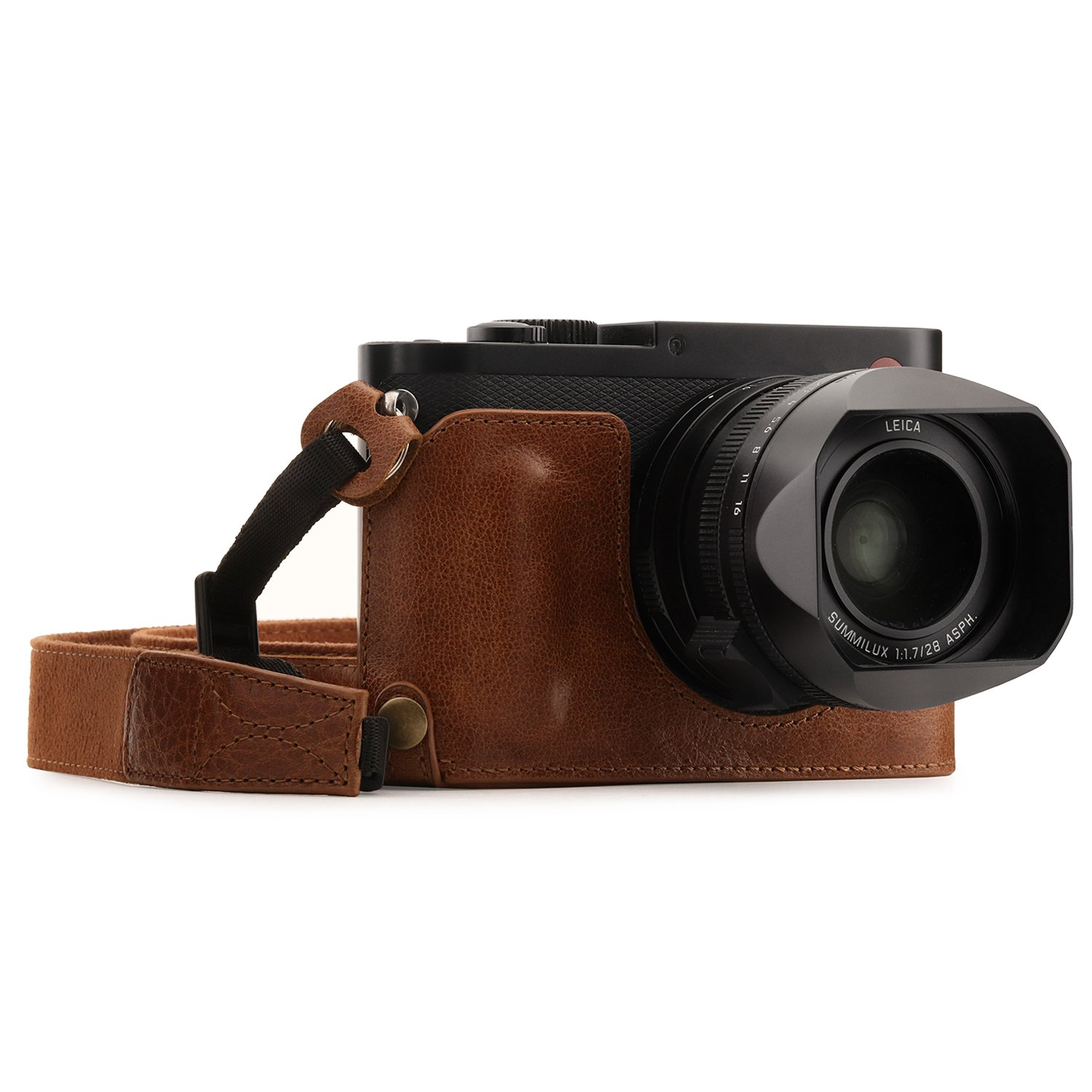 MegaGear Leica Q (Typ 116) Ever Ready Genuine Leather Camera Half Case and Strap, with Battery Access - Black MG1400