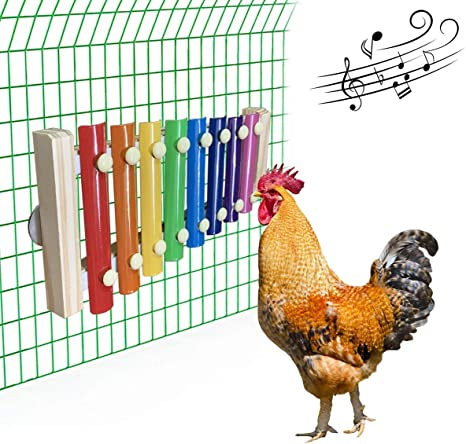 Chicken Toys with 8 Metal Keys NA// 3Pcs Chicken Xylophone Toys Vegetable Hanging Feeder for Hens Chicken Coop Pecking Toy multi