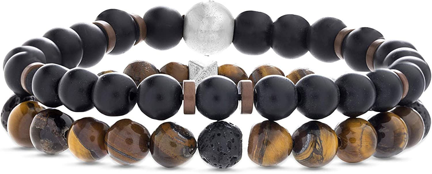 Steve Madden Men's Black and Brown Bead Stretch Bracelet Set in Stainless Steel