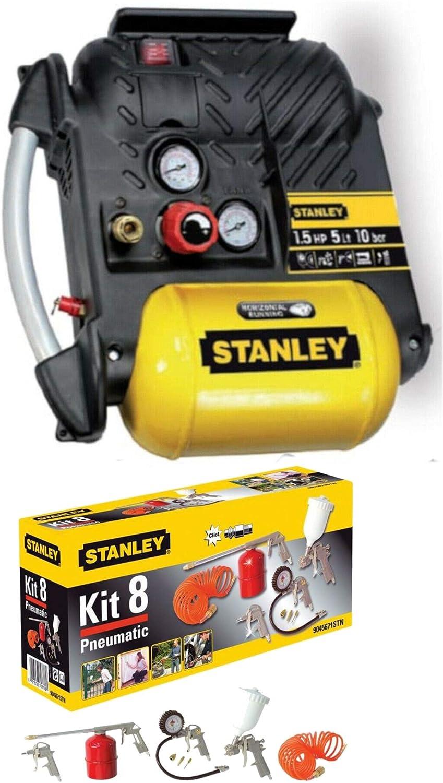 Compressore aria Stanley Airboss DN200//10//5 5 lt 1,5 HP Kit 8 accessori