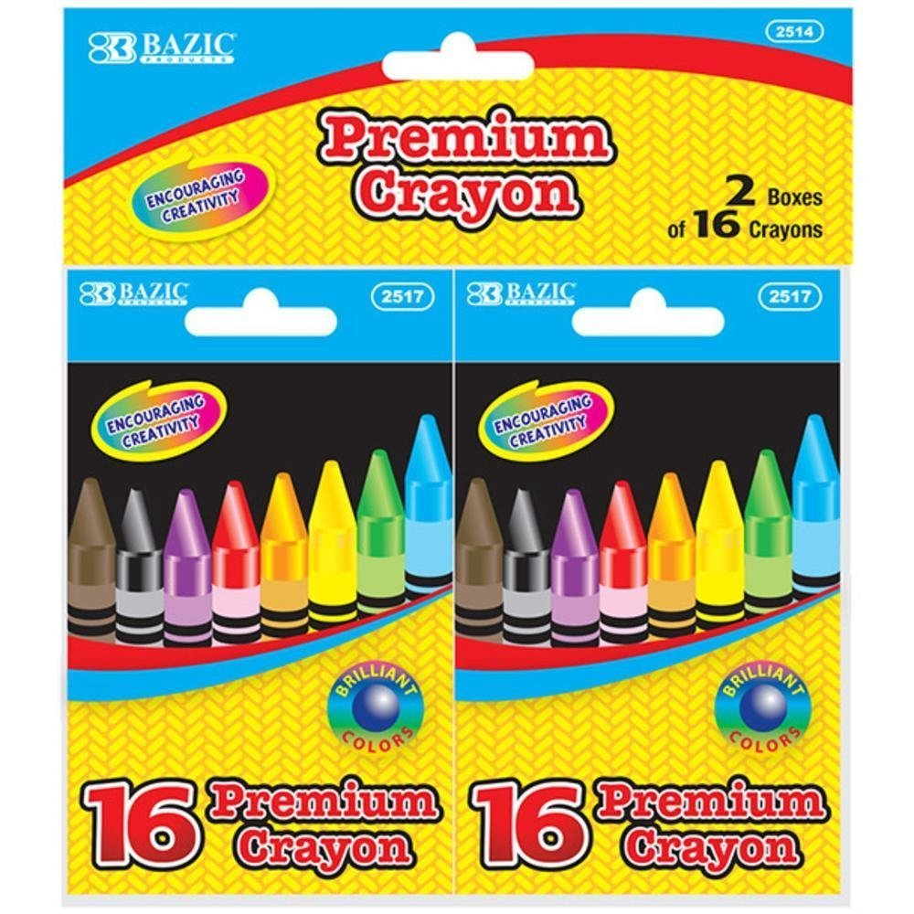 Bazic Products 2514-72 BAZIC 16 Color Premium Quality Crayon - 2-Pack Case of 72