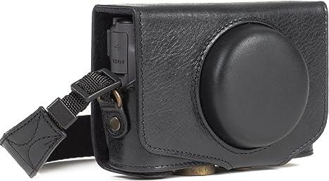 MegaGear MG1176 Canon PowerShot SX740 HS, SX730 HS Ever Ready, Estuche, Funda de Pronto Uso de Cuero auténtico, con Correa, Negro: Amazon.es: Electrónica
