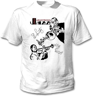 teesquare1st Louis Armstrong - Jazz Camiseta Blanca para Hombre de Algodon: Amazon.es: Ropa y accesorios