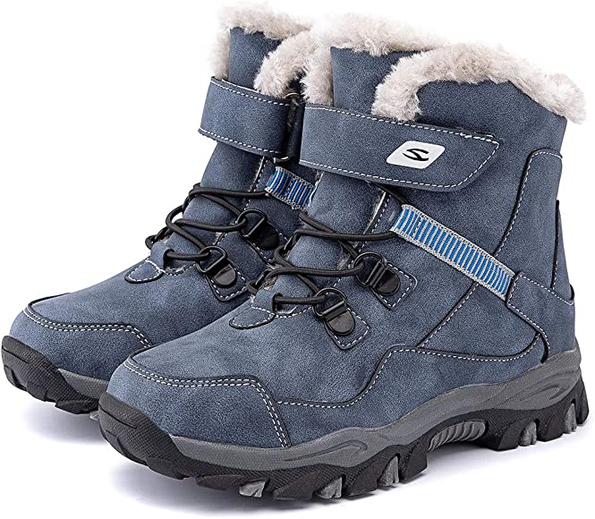 KIDS BOYS GIRLS WINTER SNOW WATERPROOF BOOTS WARM FUR LINED ANKLE BOOTS SHOES
