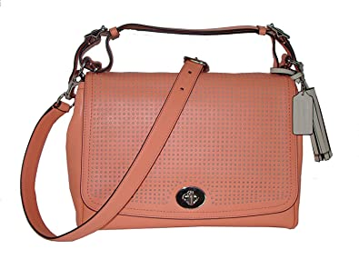 Coach Legacy Perforated Leather Romy Convertible Top Handle Bag 22386 Coral  Light Sand