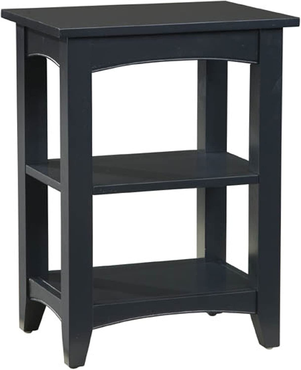 Alaterre Shaker Cottage End Table with 2 Shelves, Charcoal Gray