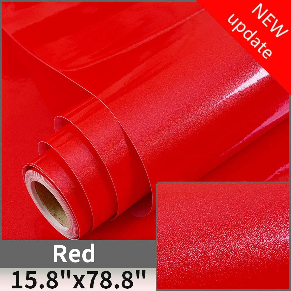 "Red Contact Paper Shiny Vinyl Self Adhesive Film Decorative Home Stick and Peel Wallpaper for Kitchen Countertop Cabinets Wardrobe Furniture (15.8"" X 78.8"")"